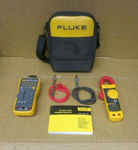 Fluke 117 True RMS Digital Multimeter + Fluke 322 Voltage Amp DC/AC Clamp Meter